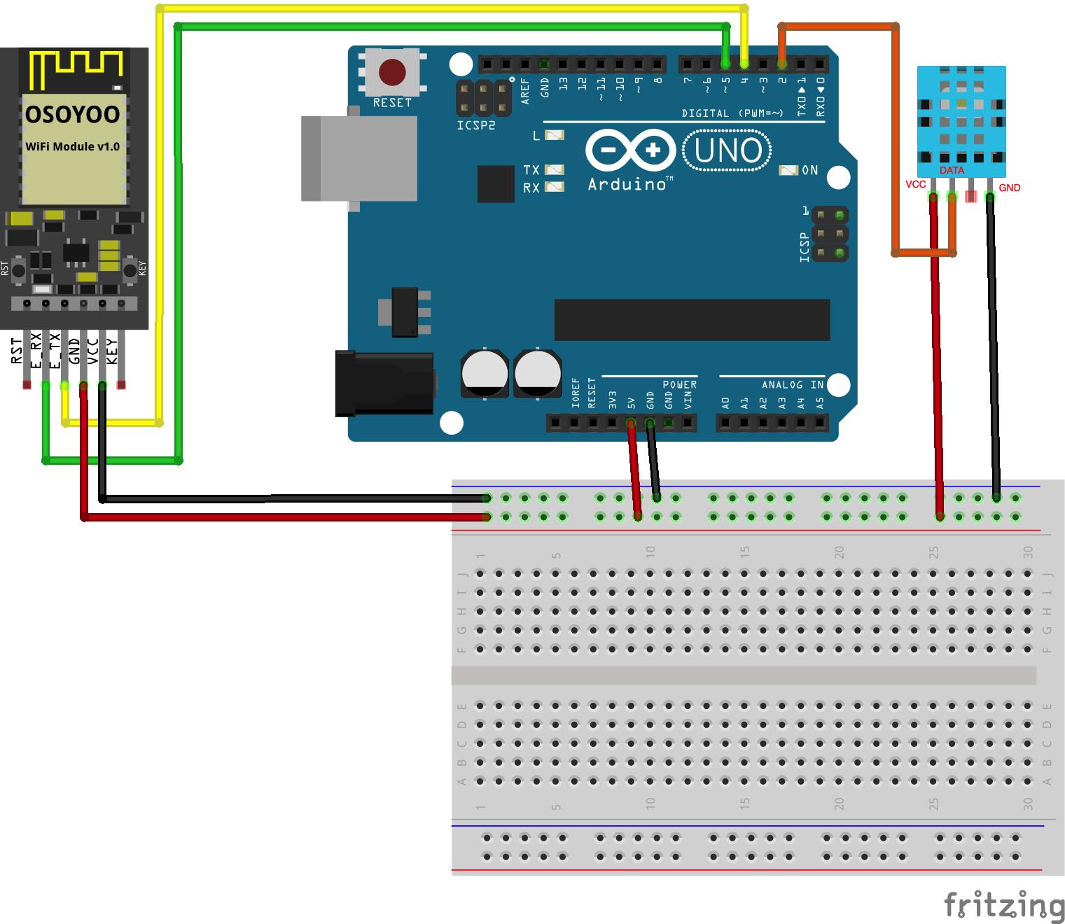 OSOYOO ESP8266 Wi-Fi Module Lesson 2: User browser to monitor remote temperature