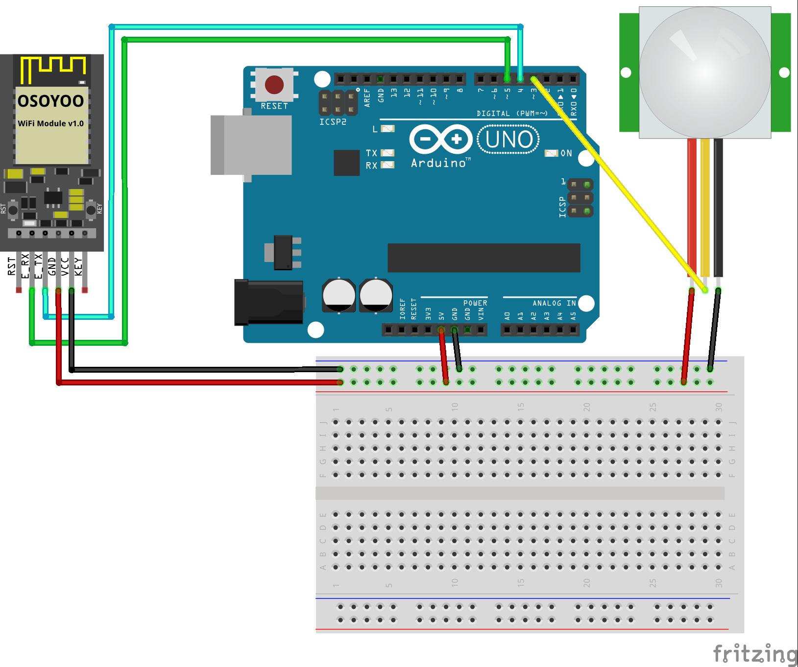 OSOYOO ESP8266 Wi-Fi Module Lesson 4: IoT Alarm System with Multiple ESP8266 modules