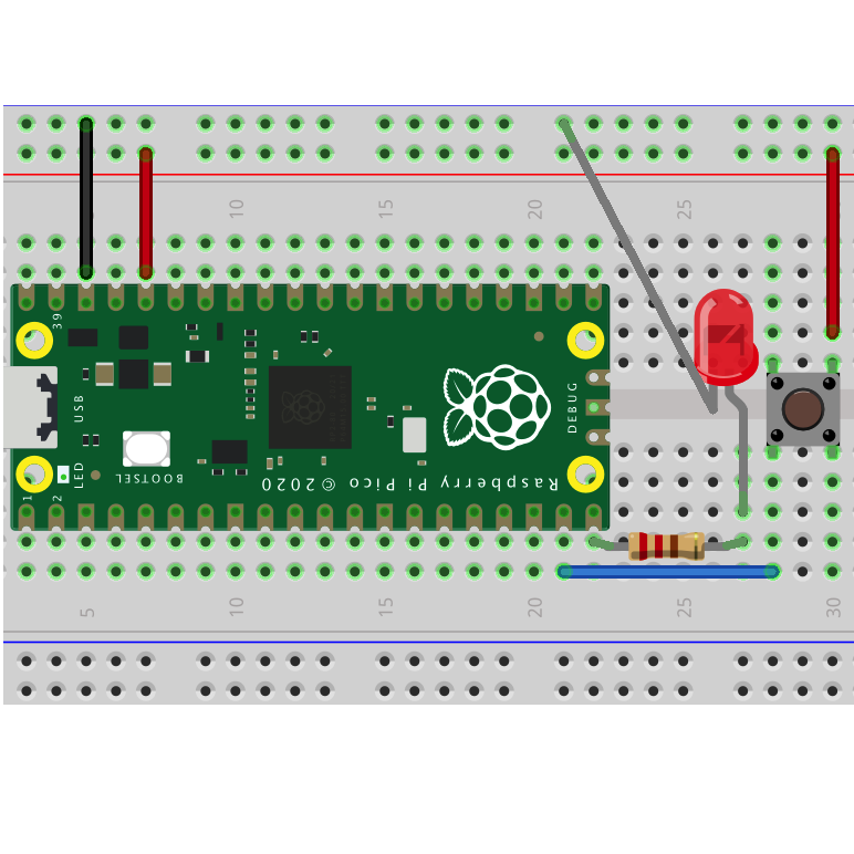 Pico Graphic Programming Lesson 2: Use Push Button to control LED