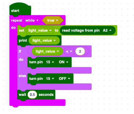 Pico Graphic Programming Lesson 3: Photoresistor controlled LED light