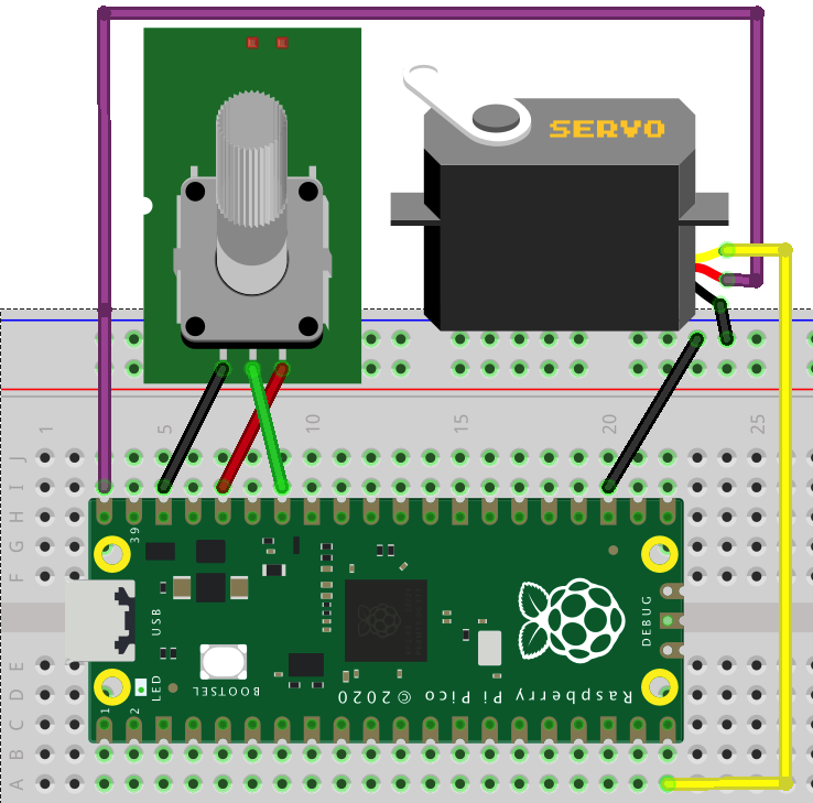 Pico Graphic Programming Lesson 4: Servo Controlled by Potentiometer