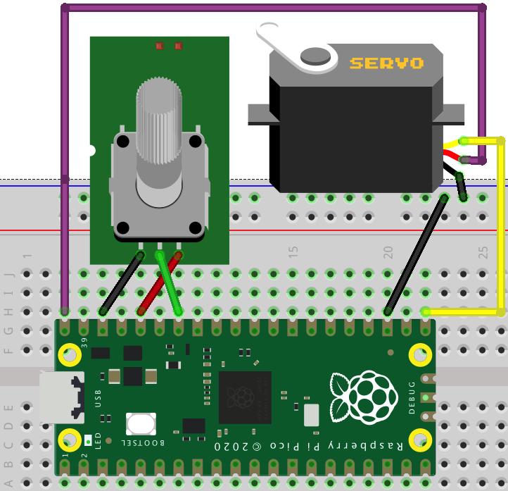 Raspberry Pi Pico Learning Kit Lesson 5: use potentiometer to control Servo