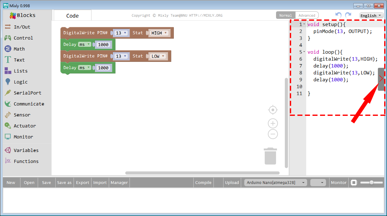 Arduino Graphical Programming Kit Lesson1 – Blinking the On