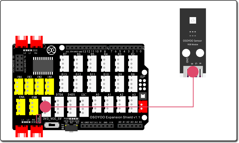Arduino Graphic programming learning kit Lesson 8: Change color of RGB LED