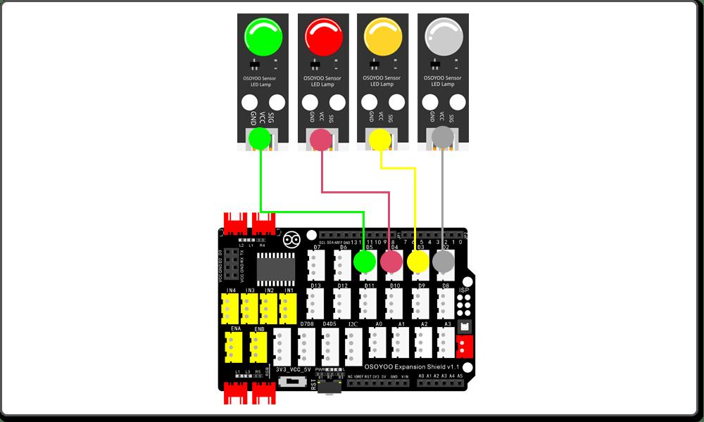 Arduino Graphic programming learning kit Lesson 3:   Running Light Flow