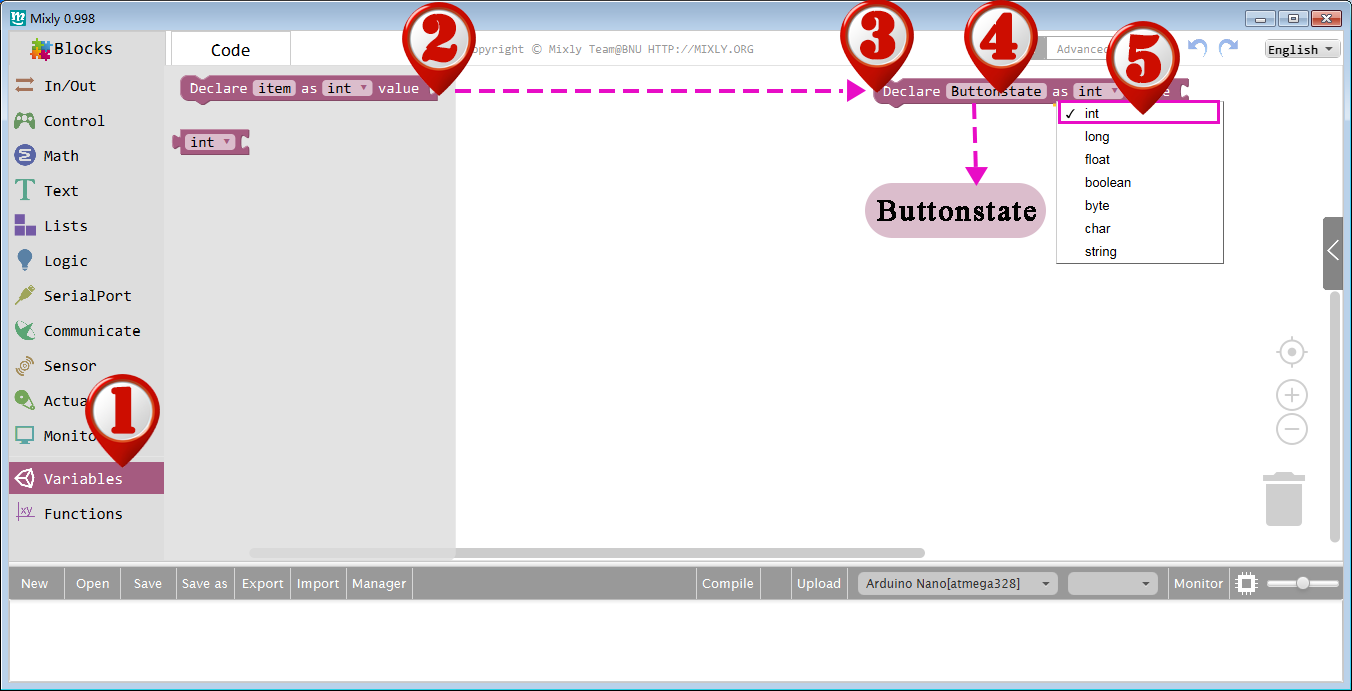 Arduino Graphical Programming Kit Lesson5 – Using a button