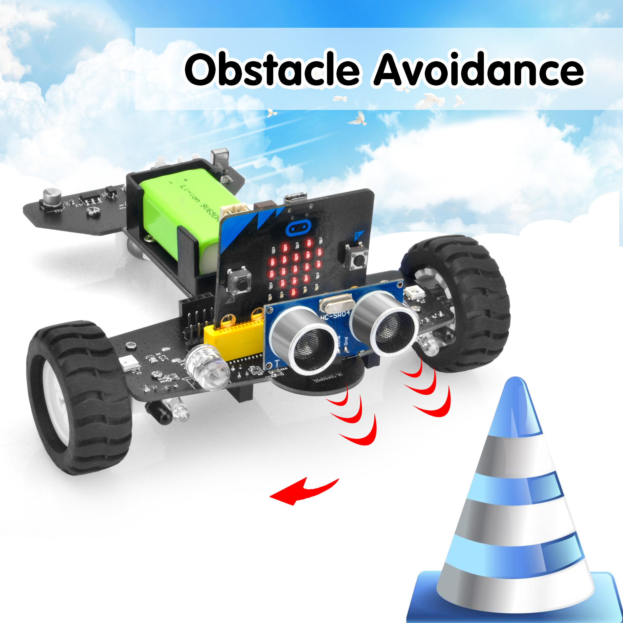 OSOYOO Robot Car for Micro Bit Lesson 13- Ultrasonic and Infrared Avoiding Obstacles
