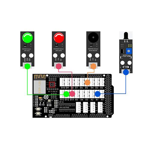 OSOYOO Smart Home IoT Learning Kit Lesson 10: Remote monitor Fire Sensor status