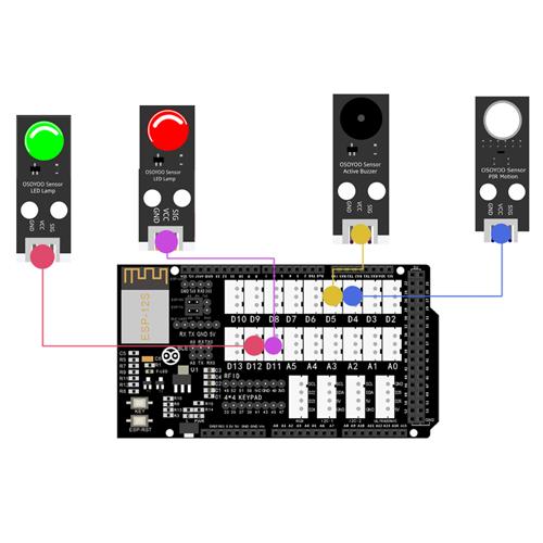 OSOYOO Smart Home IoT Learning Kit Lesson 13: Remote monitor Intruder Motion Sensor status
