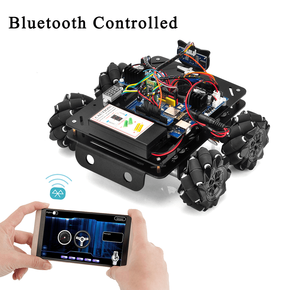 Mecanum Wheel Metal Chasiss Robotic (for Mega2560) Lesson 4-Bluetooth imitation driving