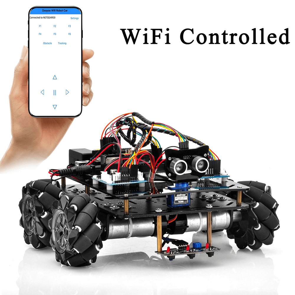 Metal Chassis Mecanum Wheel Robotic (for Arduino Mega2560) Lesson5: Wifi IoT control by UDP