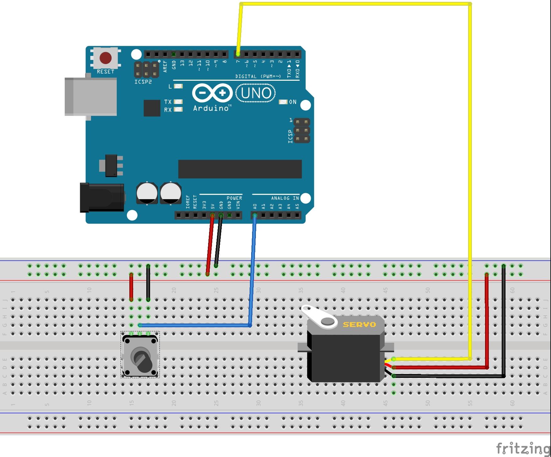 Use  potentiometer to control a servo