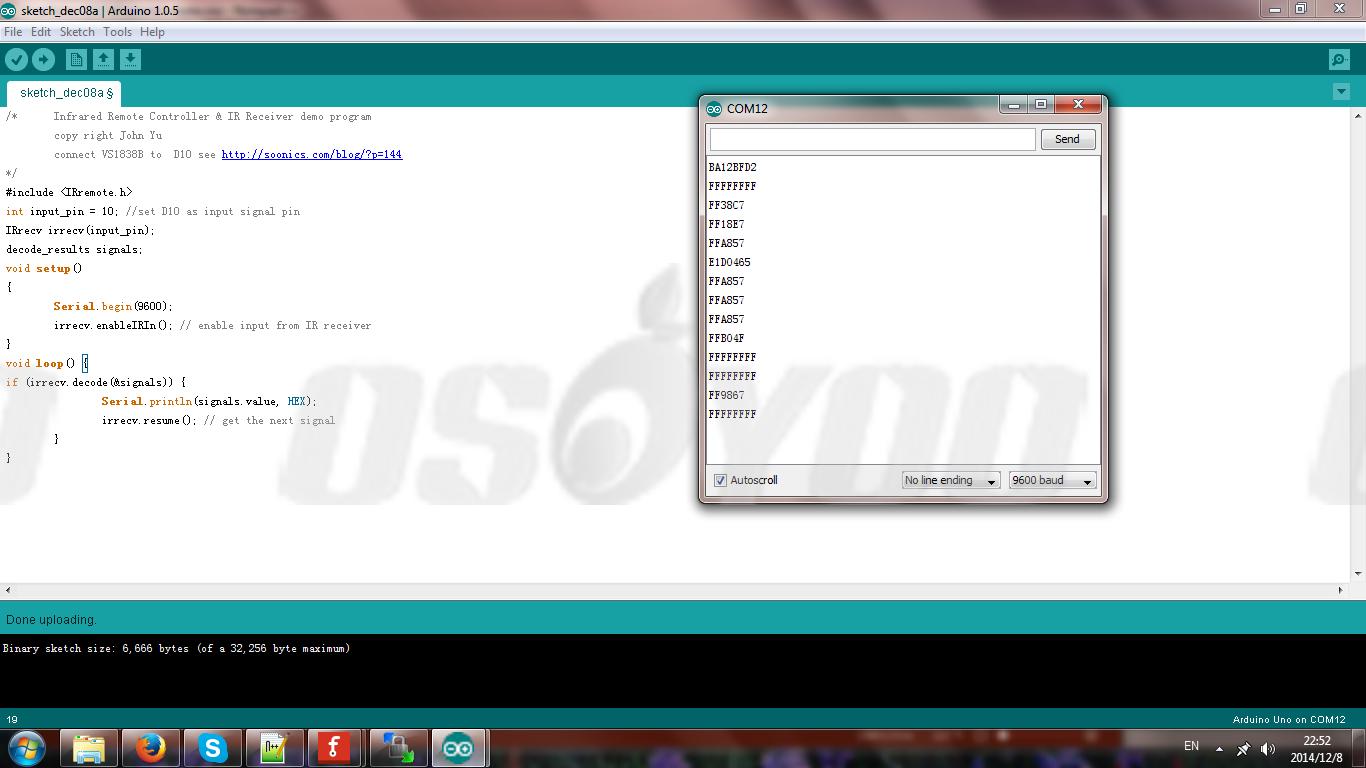 Decode Infrared Remote Controller with IR Receiver VS1838B « osoyoo com