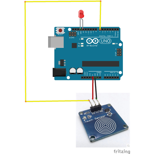Use touch switch sensor and Arduino to turn on LED