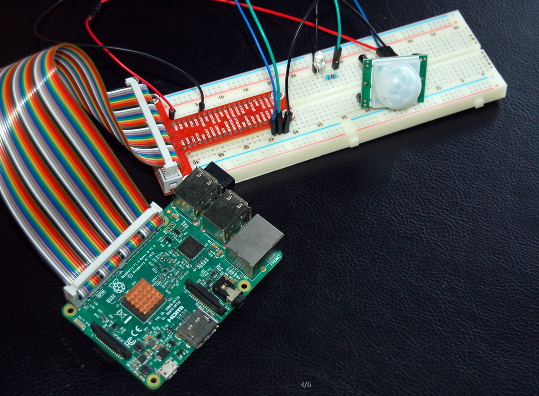 Raspberry Piで人体感知センサーモジュールを作動し、LEDを点灯する