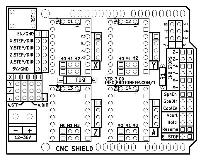 Arduino UNO + Arduino CNC Shield V3.0+A4988 Installation ... on