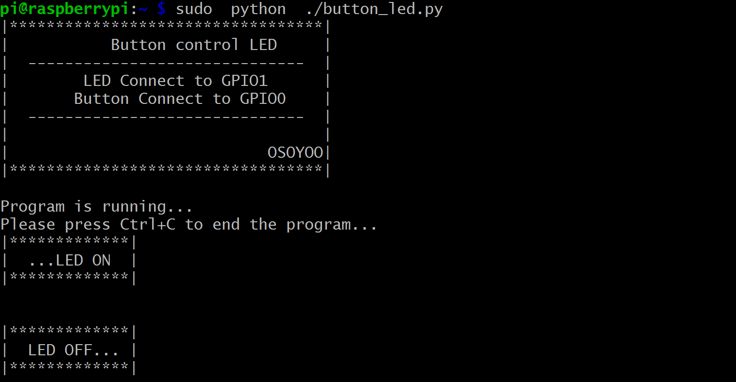Raspberry Pi Starter Kit Lesson 7 Button Control Led Wiringpi Serial Example Step 2 Run Program Piraspberry Sudo Python