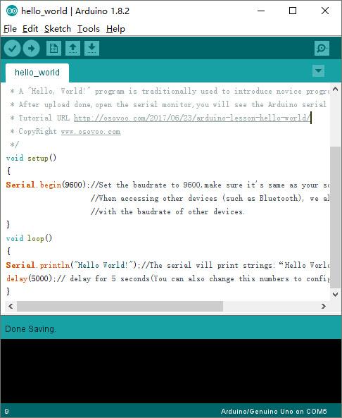 Arduino lesson – Hello World « osoyoo com