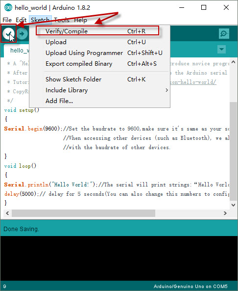 Arduino lesson hello world « osoyoo