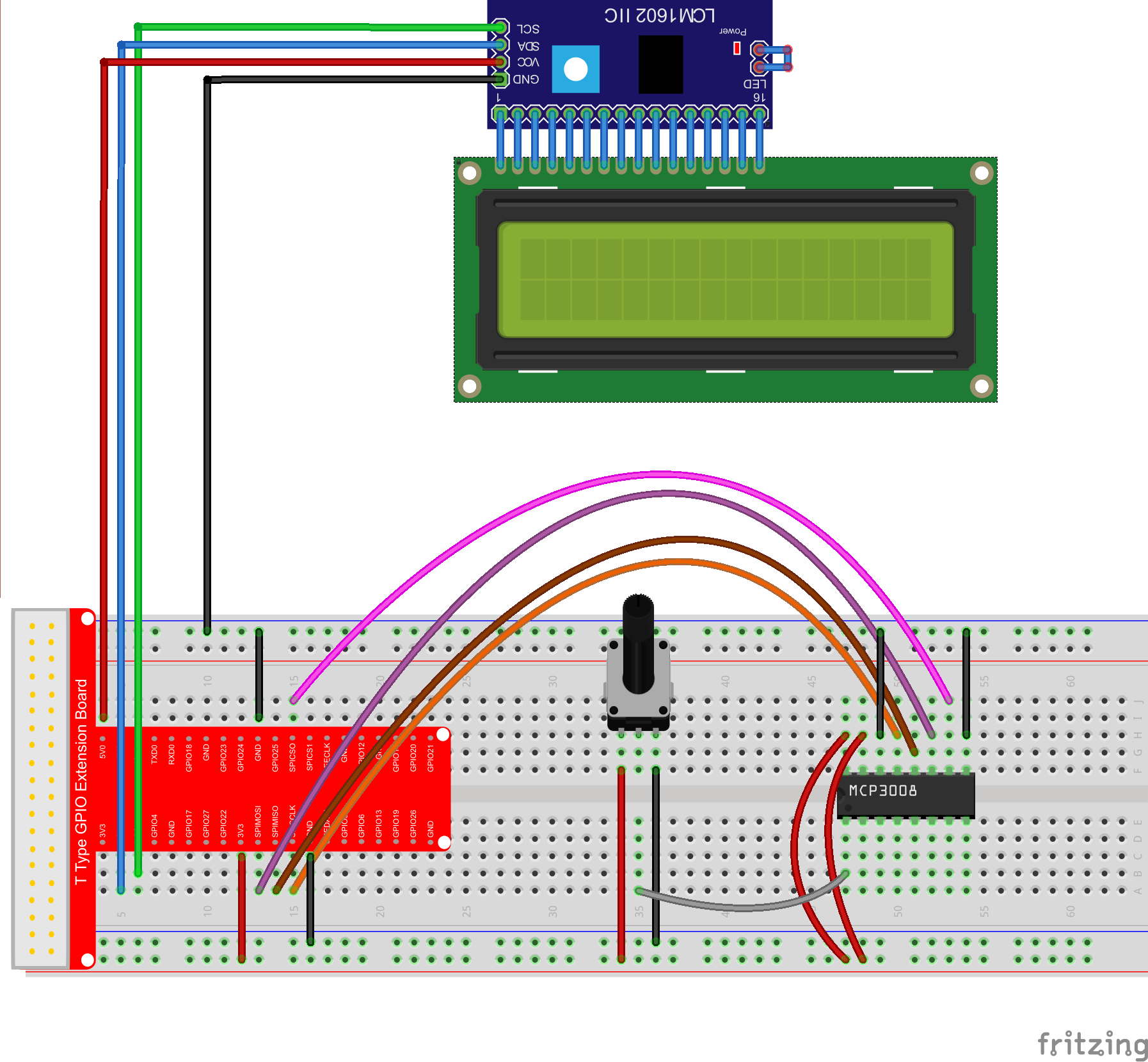 Raspberry Pi Starter Kit Lesson 15 Potentiometer And 2 Wiringpi I2c In This Project Well Wire Up The With An External Mcp3008 Adc Measure Analog Value Via That Then Display Voltage On 1602 Lcdthe