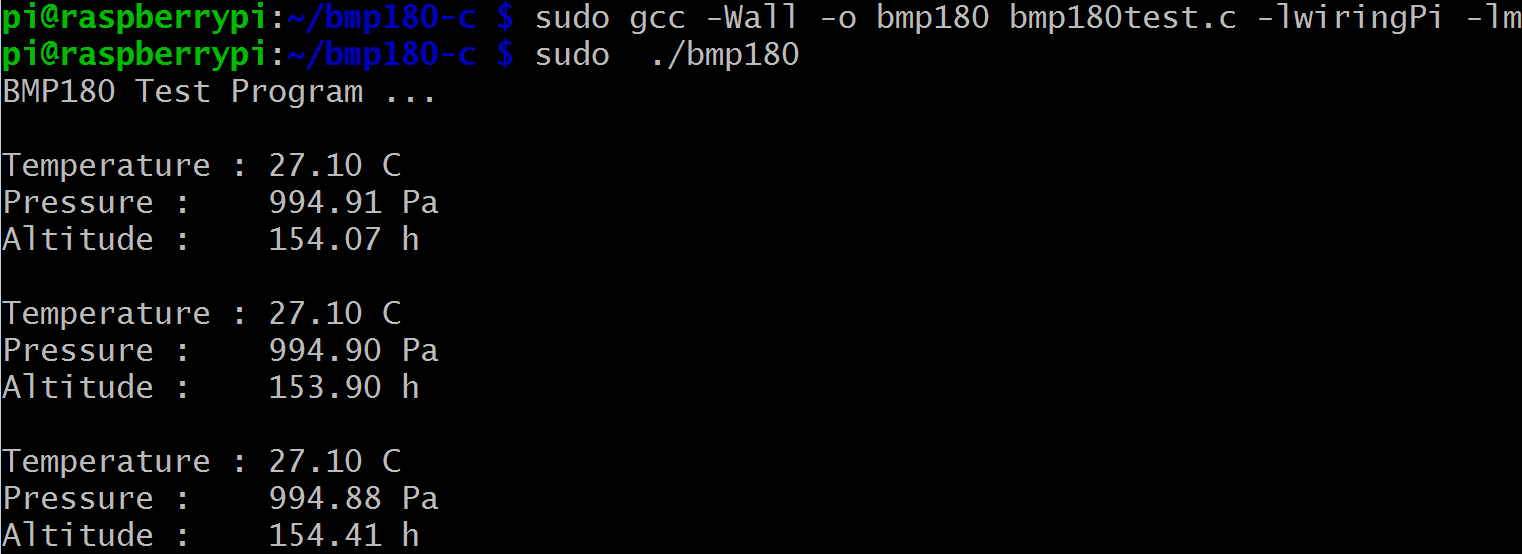 Raspberry Pi Starter Kit Lesson 18 180 Digital Pressure Sensor Import Wiringpi Error Step 4 Run Program Sudo Result Once The Starts Running Terminal Will Show Temperature And Altitude Which