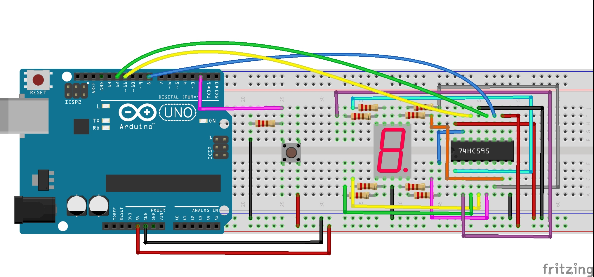Arduino 7 Segment Display Wiring On Circuit Diagram Lesson Digital Dice The Is Shown Below Seven Could Have Been Directly Interfaced To But By Using 74hc595 Only 3