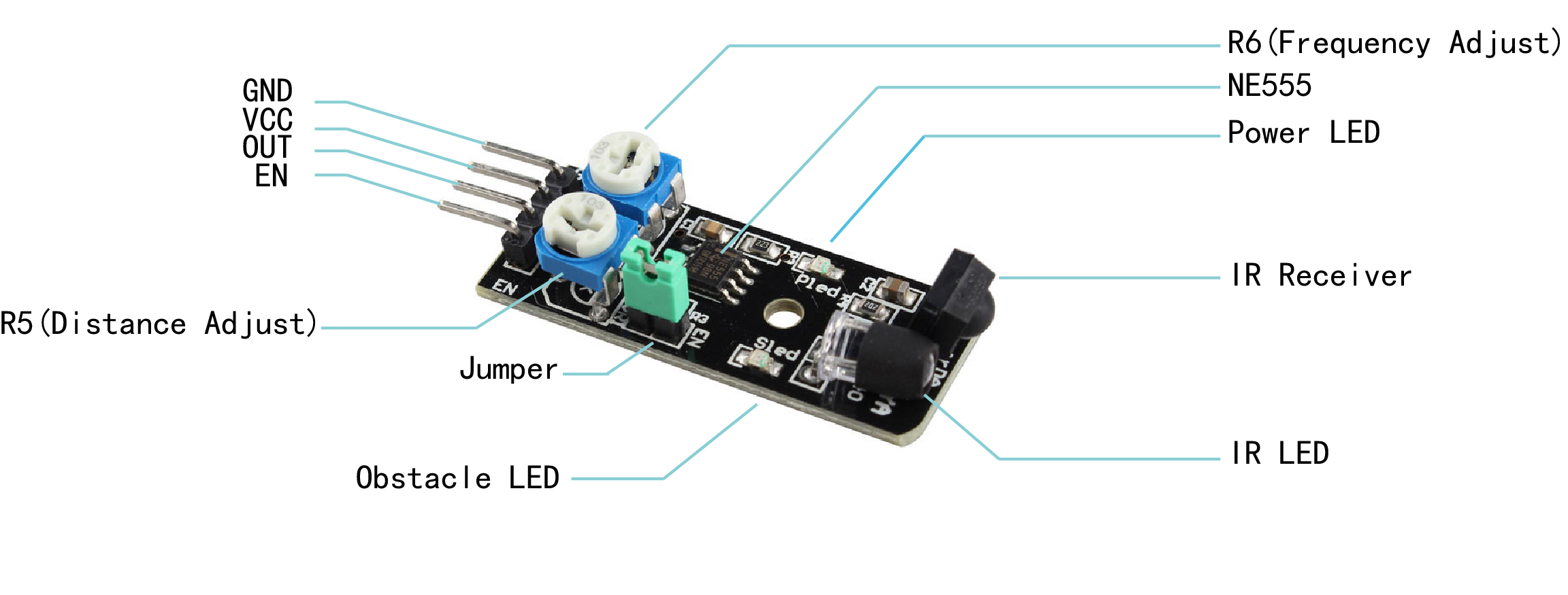 Arduino Lesson Ir Obstacle Avoidance Sensor Infraredtransmittercircuitlabeledonbreadboardjpg At The Heart Of Is An Ne555 Chip Configured To Generate A 38khz Square Wave Signal Used Illuminate Infra Red Led