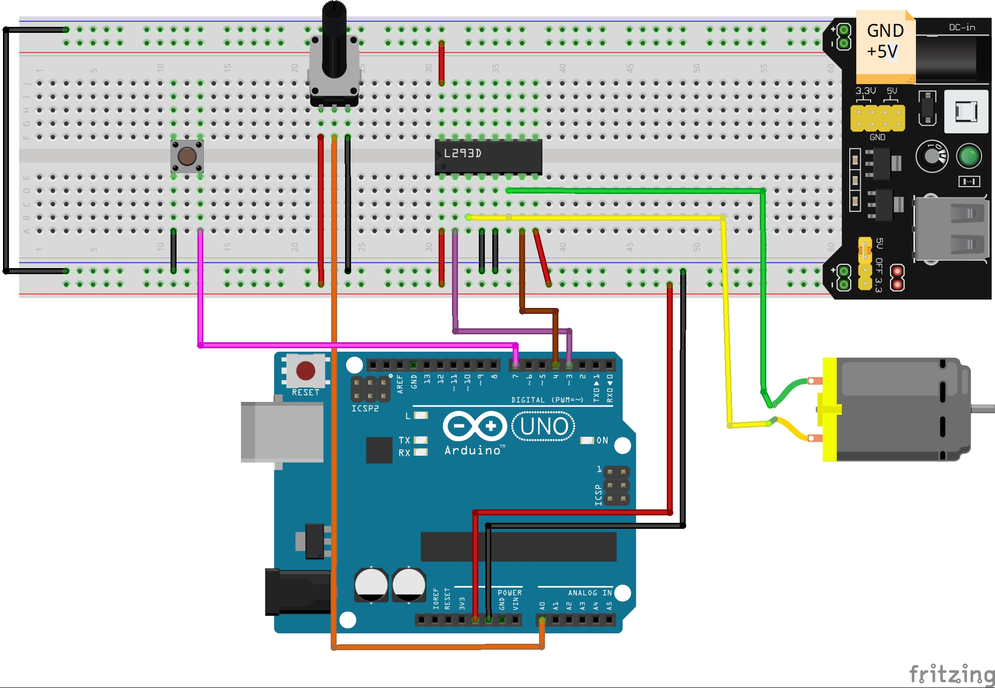 Arduino Lesson L293d With Dc Motor Schematic Together Parts Of An Board On This H Bridge Is Capable Driving Two Separate Motors So We Are Only Going To Use Half The Chip Pins 1 7 Can Be Left Disconnected