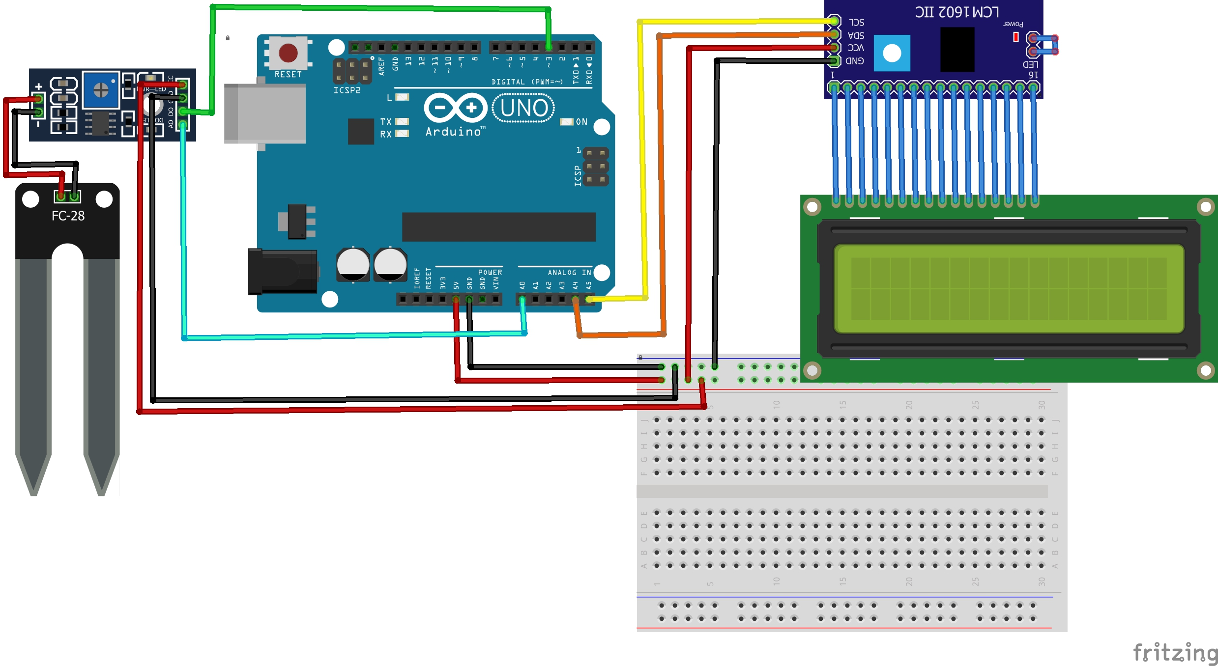 Use Arduino to detect soil moisture and display daga in 16x2 LCD