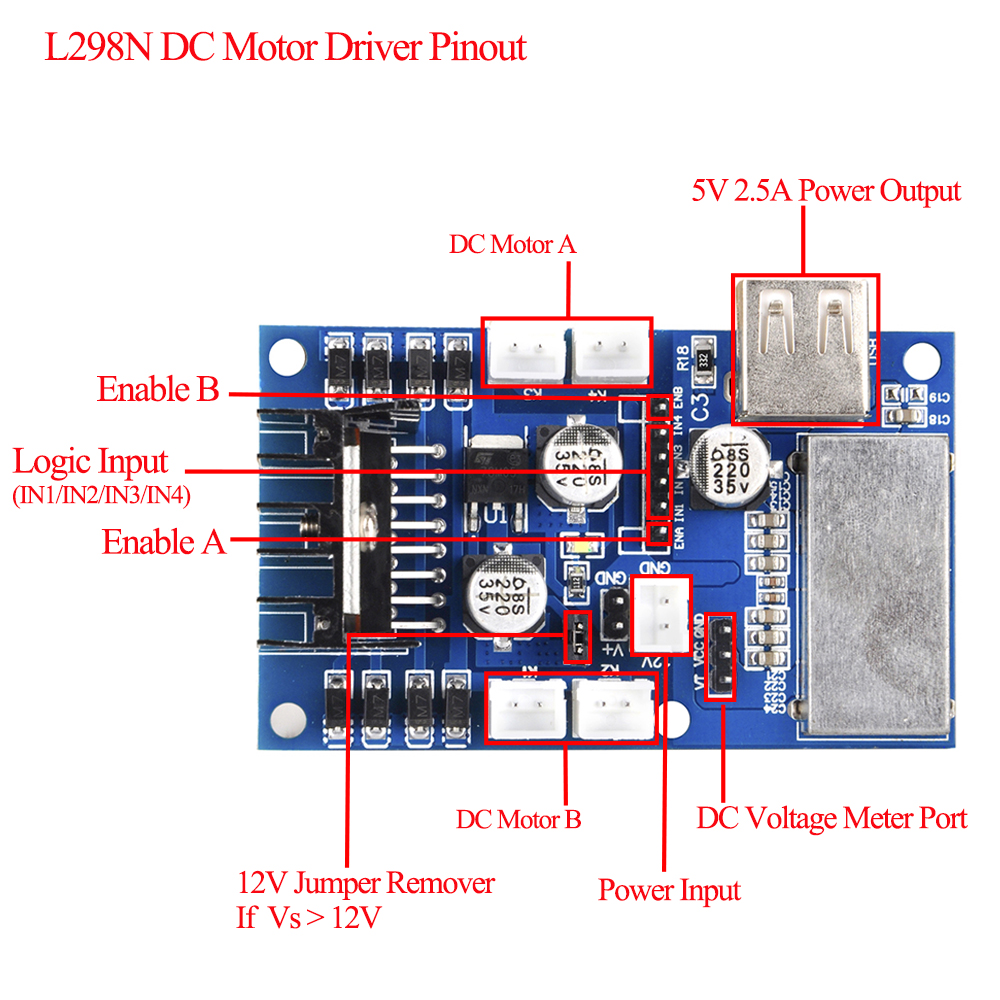 4wd L298n Motor Driver Board Dual H Bridge Dc For Robotics Smart Car L298 Circuit Diagram Channel Working Mode Creates Higher Efficiency As Main Chip St Corporation Productioncan Drive One 2 Phase Stepper