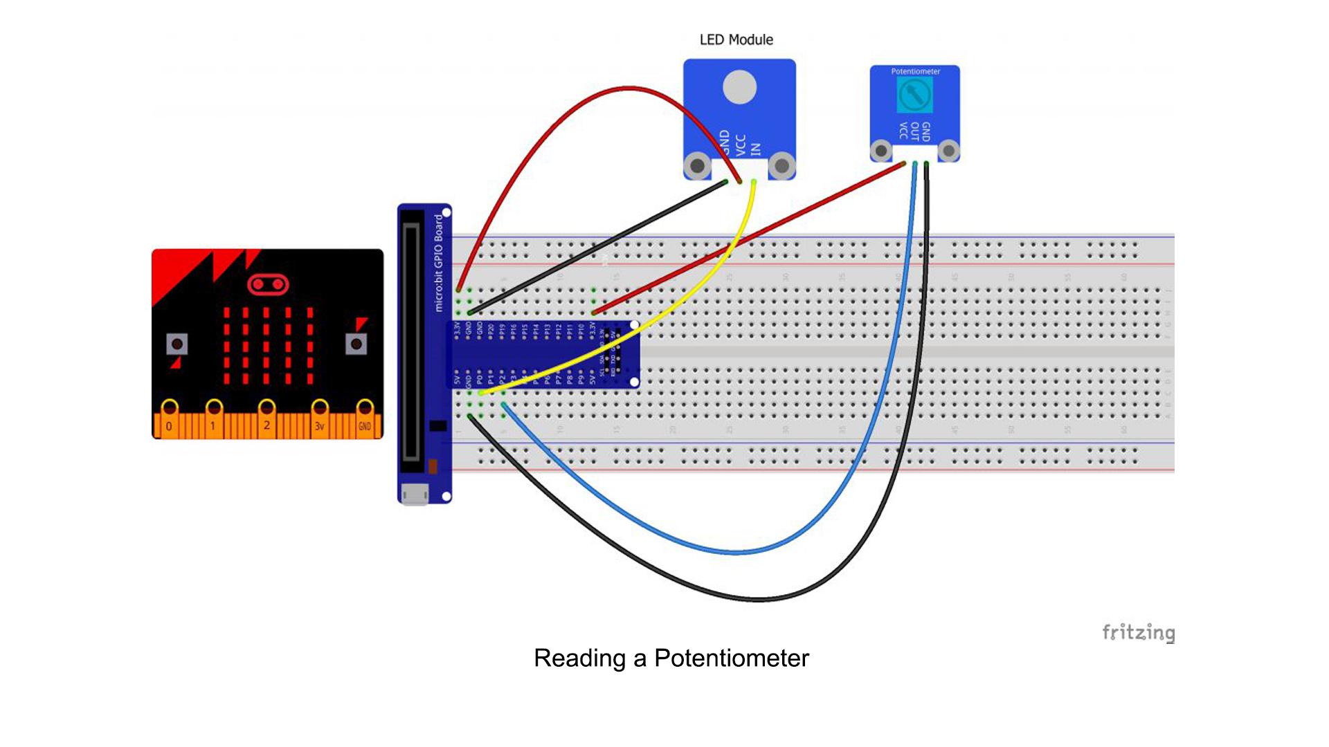 Micro bit lesson — Reading a Potentiometer