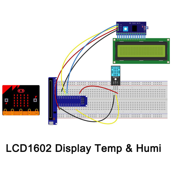 Micro bit lesson — Dispaly the Temperature and Humidity on the I2C 1602 LCD Screen